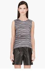 KENZO Black & grey seersucker silk Tank top for women