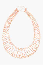 ARIELLE DE PINTO Rose gold Clasped Lattice Bib necklace for women