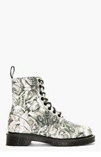 DR. MARTENS Grey Canvas Skull & Rose Print Becket 8-Eye Boots for women