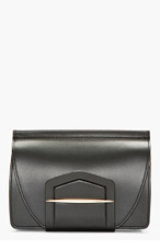 NINA RICCI Black Leather Wraparound Tab Clutch for women