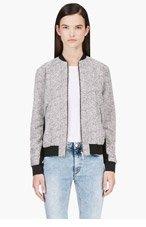 RICHARD NICOLL White & Black Tweed Bomber Jacket for women