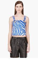 VERSUS Blue & White Zebra Print J.W. Anderson Edition Tank Top for women