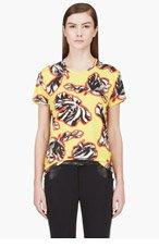JONATHAN SAUNDERS Yellow Floral Print Crewneck T-shirt for women