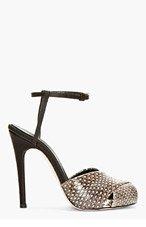 GIAMBATTISTA VALLI Brown Snakeskin Peep-Toe Heels for women