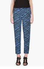 KENZO Blue & Black Woven Wave Trousers for women