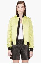 JONATHAN SAUNDERS Acid Green Bomber Jacket for women