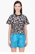 KENZO Black & White Print Crewneck Cropped Sweatshirt for women