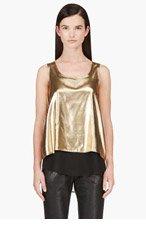 ALTUZARRA Gold Lame Layered Tank Top for women
