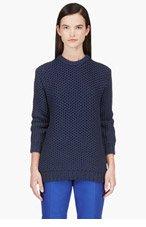RICHARD NICOLL Navy Chunky Cotton Waffle Knit Sweater for women