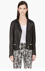 RICHARD NICOLL Black Leather Biker Jacket for women