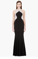 ZUHAIR MURAD Black pearl & sequin embroidered halter Gown for women