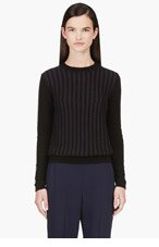 MARNI Black & Navy Striped Knit Sweater for women