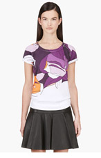 MARNI Purple Floral Print T-Shirt for women
