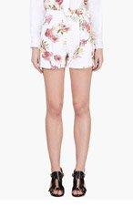 GIAMBATTISTA VALLI White Floral Print Pleated Shorts for women