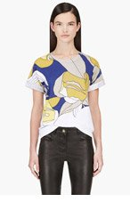 MARNI Blue & Yellow Floral Print T-Shirt for women