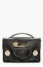 VERSUS Black Leather Safety Pin Satchel for women