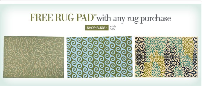 FREE RUG PAD** with any rug purchase. Ends 1/27. Shop Rugs >