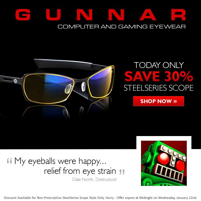 Wildcard Wednesday - Save 50% on SteelSeries Scope Glasses