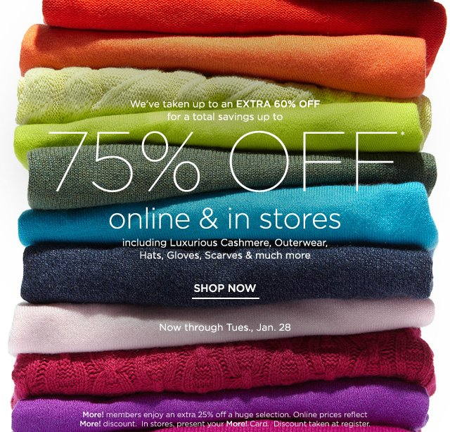 Up to 75% off Online & In Stores
