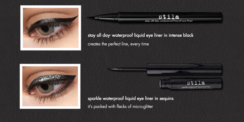 products featured:stay all day waterproof liquid eye liner in intense black and sparkle waterproof liquid eye liner in sequins