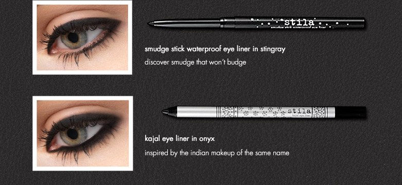 products featured: smudge stick waterproof eye liner in stingray and kajal eye liner in onyx