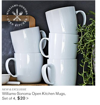 NEW & EXCLUSIVE - Williams-Sonoma Open Kitchen Mugs, Set of 4, $20