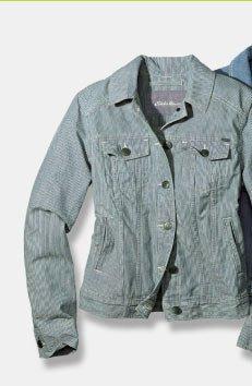 Shop Striped Classic Jean Jacket