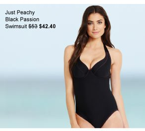 Just Peachy By Figleaves.com Black Passion Underwired Halter Swimsuit was $53 now $42.40