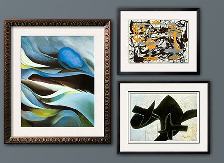 From the Lake I By: Georgia O'Keeffe; Yellow Grey Black By: Jackson Pollock; Reclining Nude By: Georges Braque