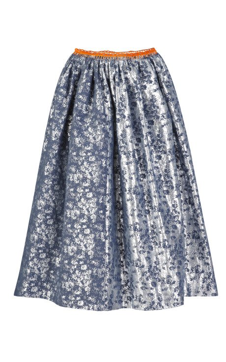 Flower Jacquard Topaz Skirt
