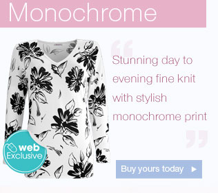 Stunning day to evening fine knit with stylish monochrome print Buy  yours today