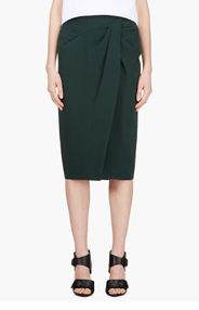BURBERRY PRORSUM Forest Green Tulip Skirt for women
