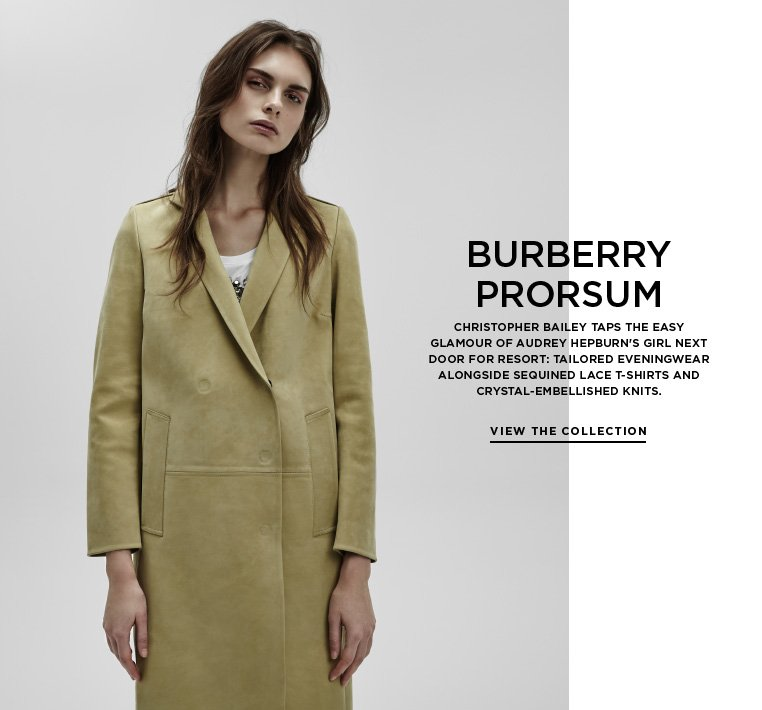 Breakfast at Burberry's Christopher Bailey taps the easy glamour of Audrey Hepburn's girl next door for Resort: tailored eveningwear alongside sequined lace t-shirts and crystal-embellished knits.