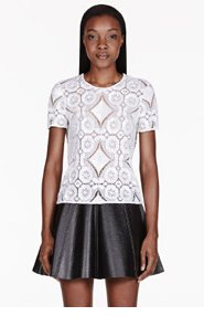 BURBERRY PRORSUM White Sequined Lace T-shirt for women