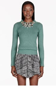 BURBERRY PRORSUM Sage cashmere embellished guernsey sweater for women