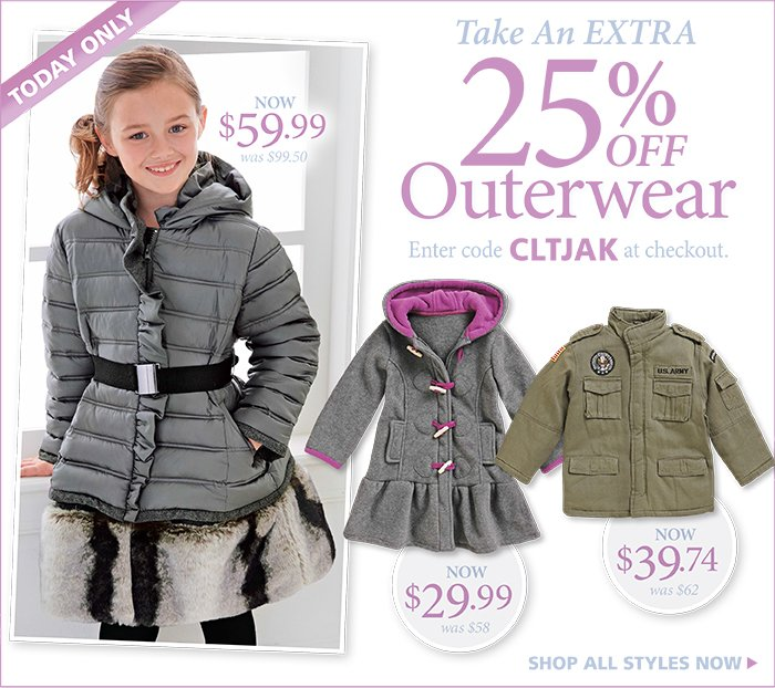Take an EXTRA 25% off Outwear with code CLTJAK at checkout.