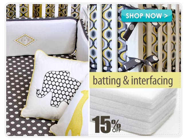 15% off Batting & Interfacing