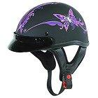 Outlaw T-70 Flat Purple Butterfly Motorcycle Half Helmet
