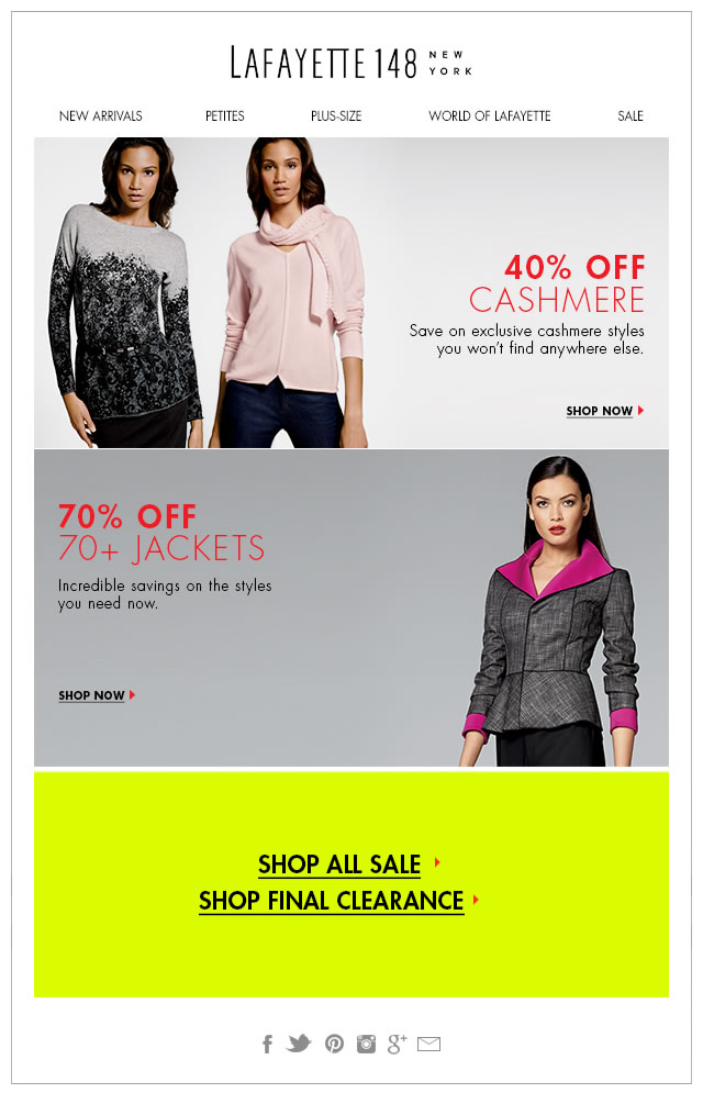 40% Off Cashmere/70% Off Jackets