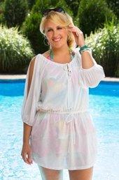 Women's Plus Size Swimwear - Always For Me Cover Drawstring Waist Tunic #1161X