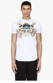 DSQUARED2 White Tribal Graphic T-Shirt for men
