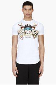 DSQUARED2 White Tribal Graphic T-Shirt for men