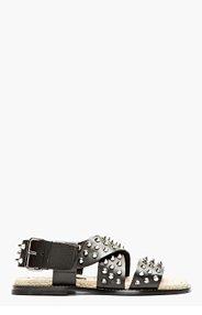 DSQUARED2 Black Leather Studded Sandal for men