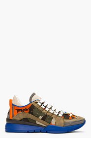 DSQUARED2 Orange and Khaki Camo Low Top Sneakers for men