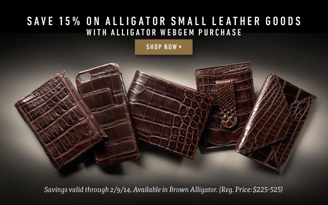 Save 15% on Alligator Small Leather Goods with Alligator WebGem Purchase. Shop now >