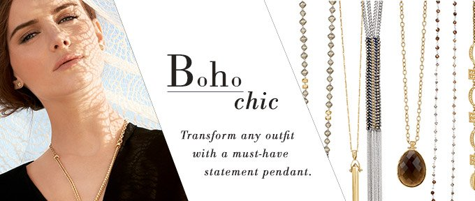 Boho Chic - Transform any outfit with a must-have statement pendant. Shop now
