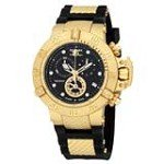 Invicta 15799 Men's Subaqua Black Dial Gold Plated Steel Black Rubber Strap Chronograph Dive Watch