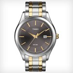 Timex T2N799 Men's Elevated Classics Dress Textured Grey Dial Two Tone Stainless Steel Bracelet Watch