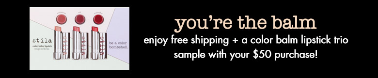 you're the balm! enjoy free shipping +  a color balm lipstick trio sample with your $50 purchase