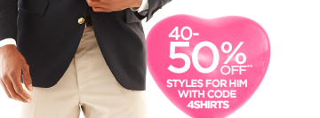40-50% OFF** STYLES FOR HIM WITH CODE  4SHIRTS